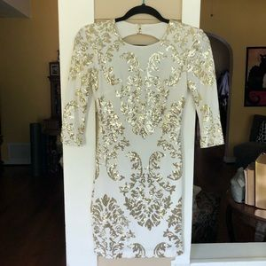 B. Darlin White with Gold Sequins HC/Prom Dress